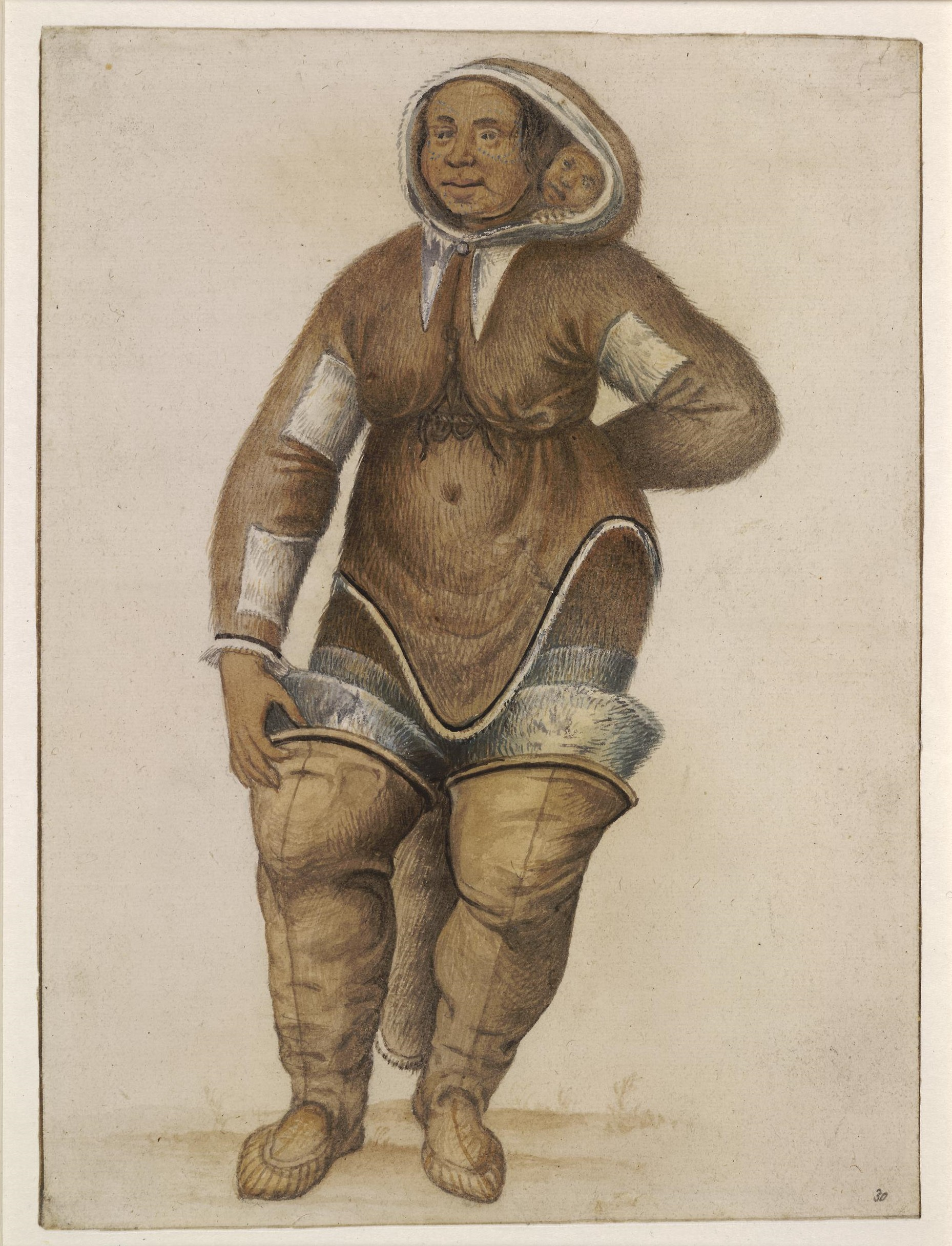 Drawing showing a woman dressed in a brown amautis parka,. A child can be seen peering out from her hood. She wears thigh length brown boots.