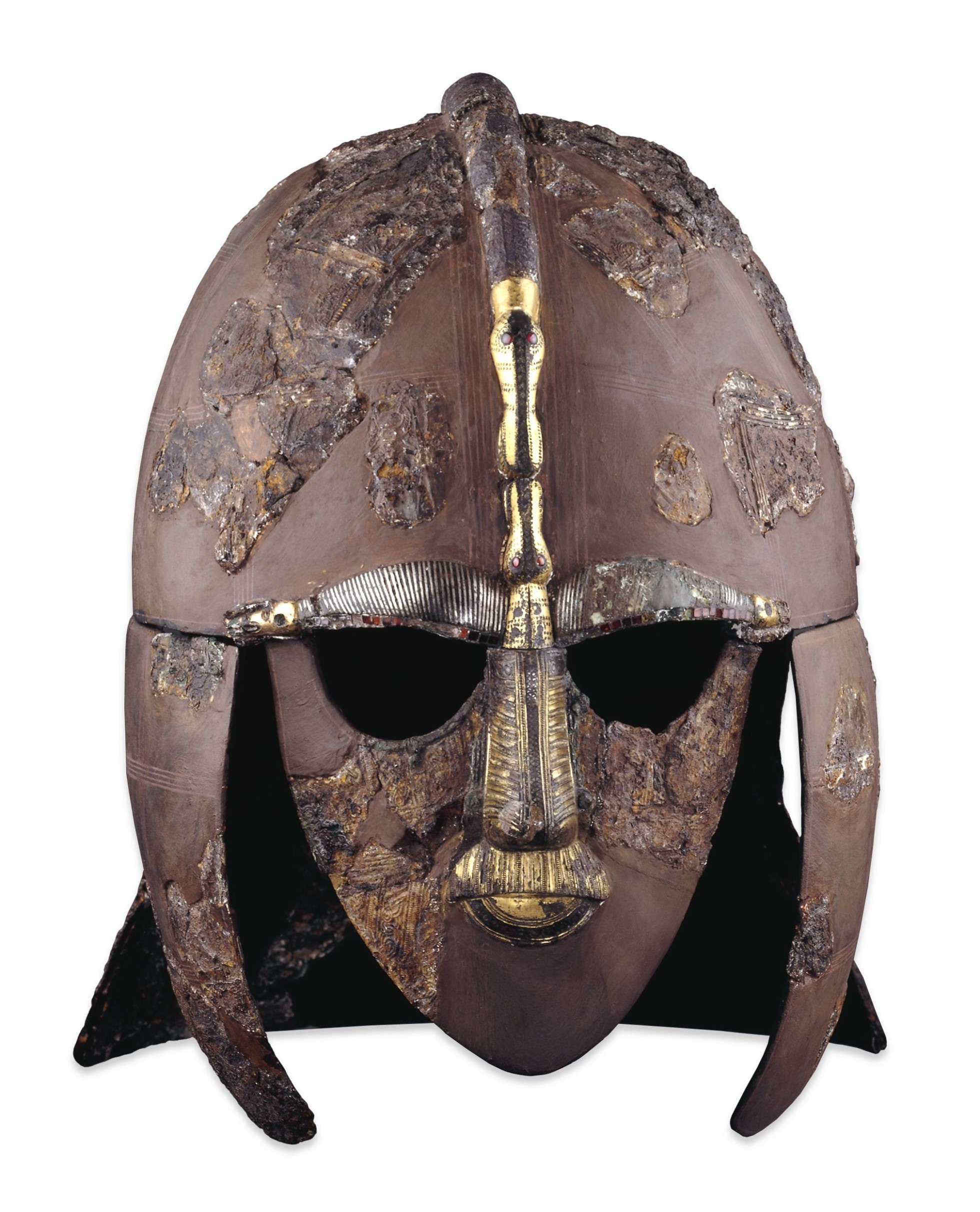 Iron and tinned copper alloy helmet, consisting of many pieces of iron, forming cap, cheek-pieces, mask and neck-guard.