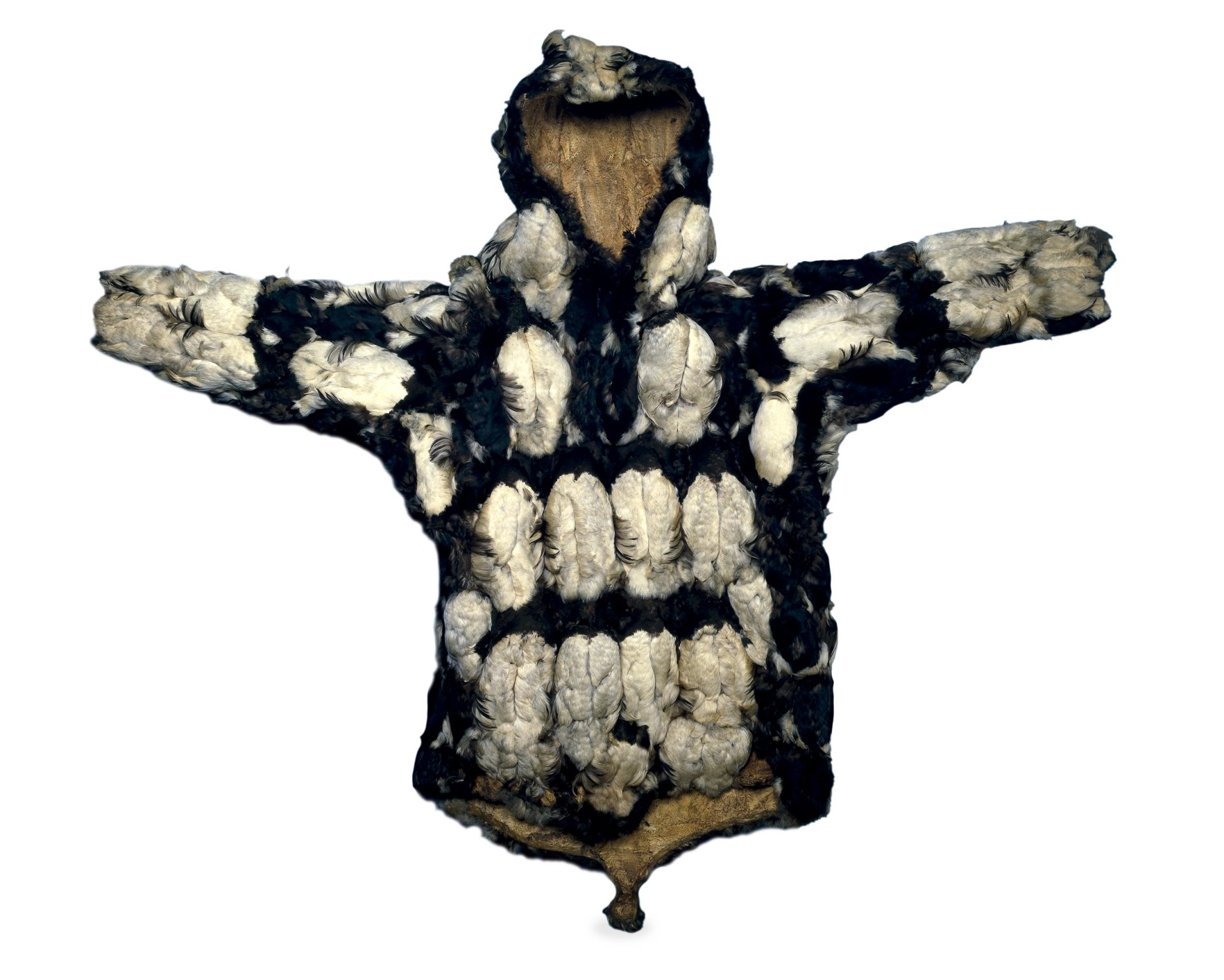 Photograph of a parka covered with black and white feathers.