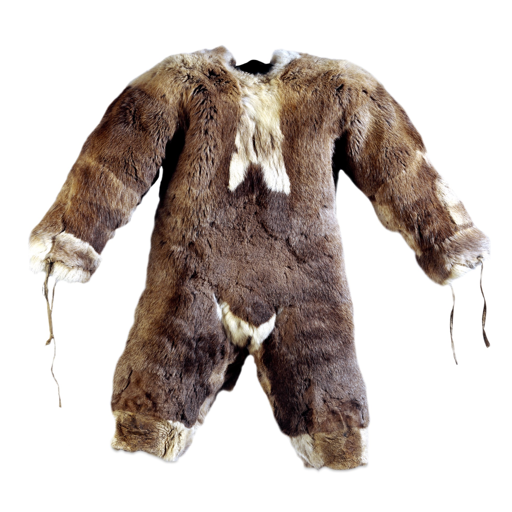 The suit is made of brown fur with white trimming. There are ties on the sleeves.