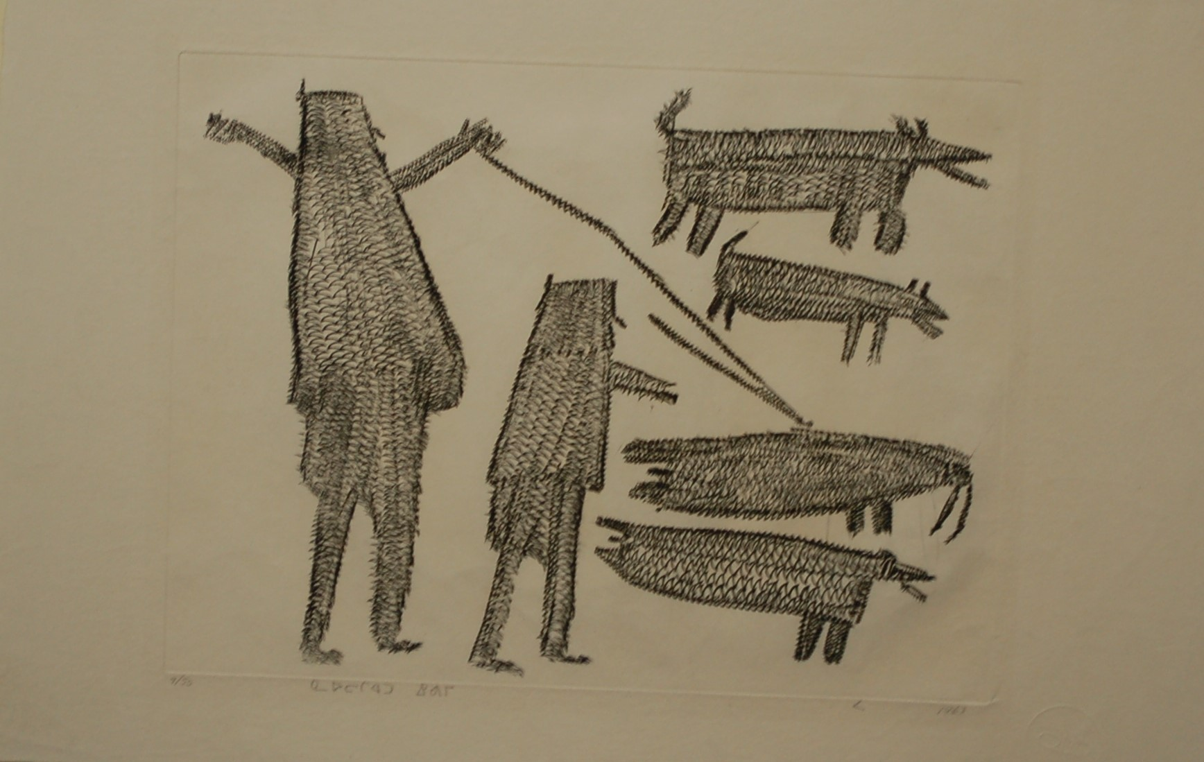 An engraving in Inuit-style of two men with two dogs hunting two walrus. One of the men has thrown a harpoon at the topmost walrus.
