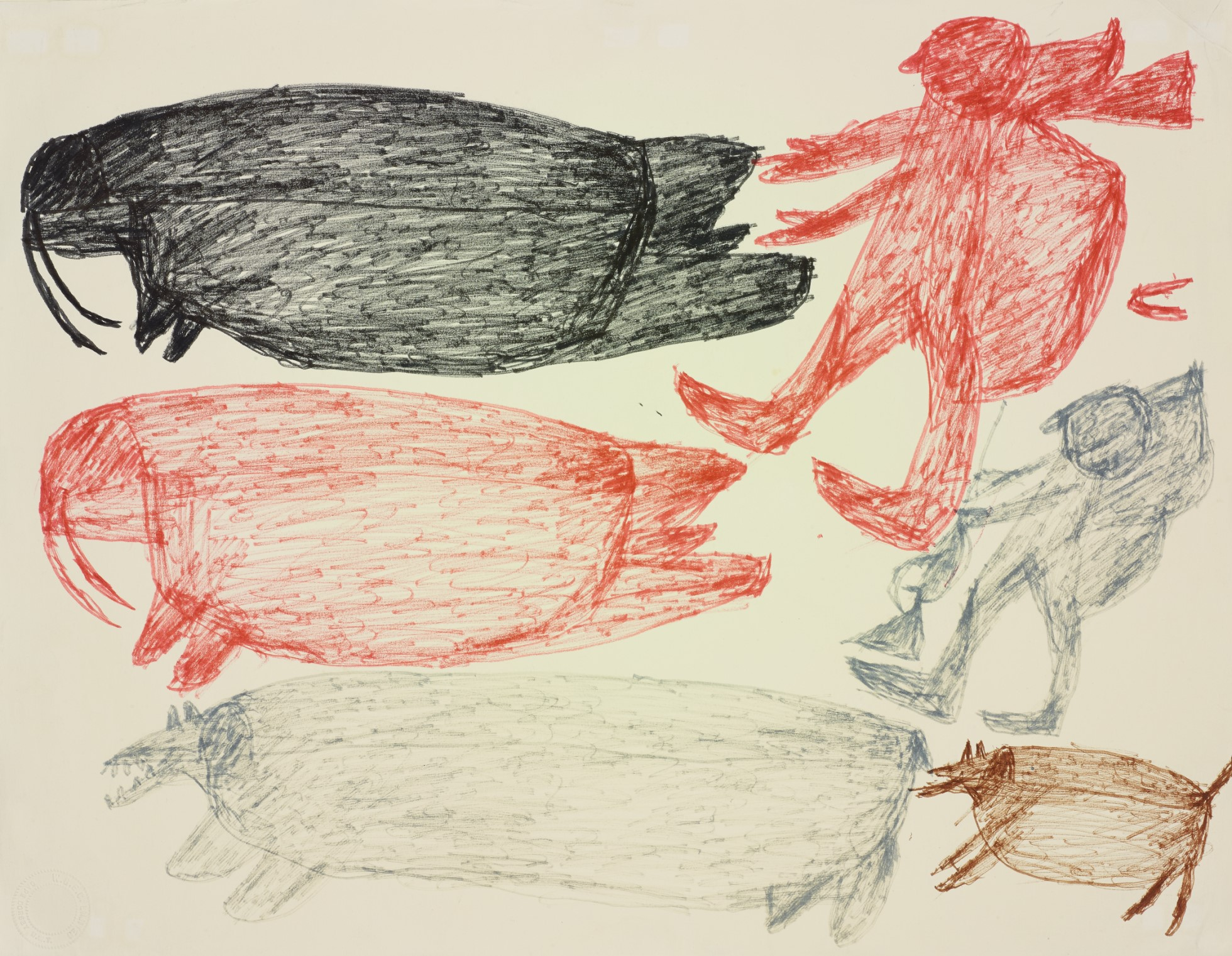A drawing in black, brown and red marker pen featuring two hunters, two walrus and two dogs (one hugely elongated).