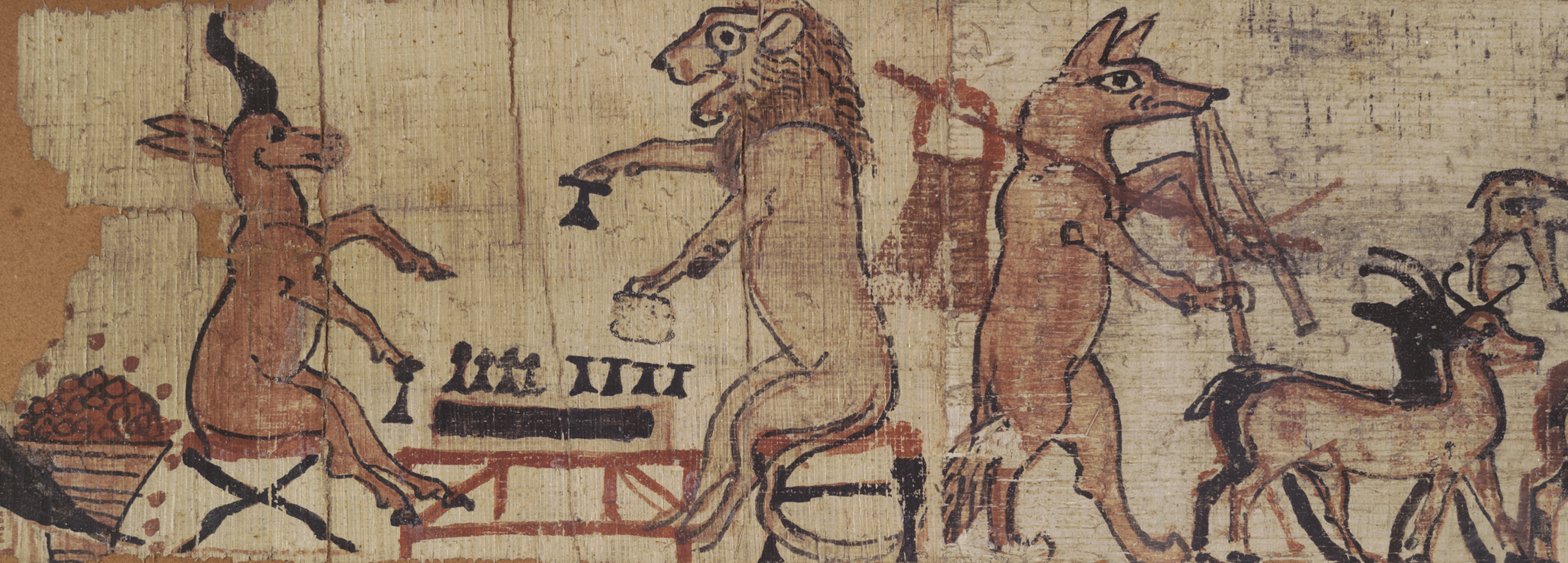A papyrus showing a gazelle and a lion sitting on low stools playing a game on a table, possible senet.
