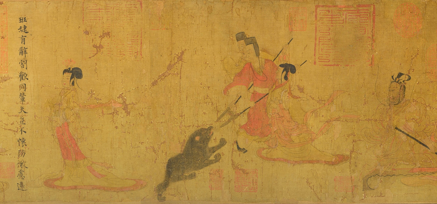 A detail of the admonitions scroll showing three men with spears poking an animal, while two elegantly dressed women walk by.