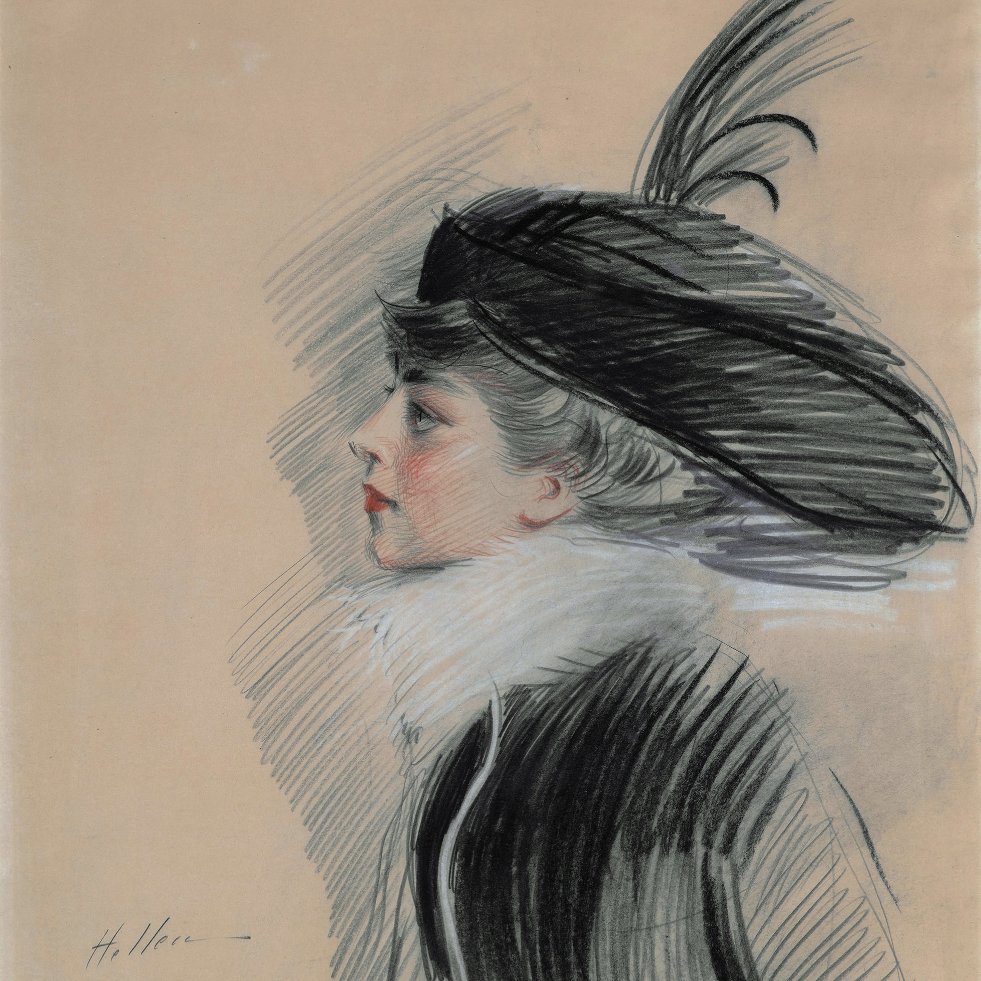 A black and white pastel drawing of a woman facing to the left, wearing a large hat topped with feathers, a black coat and a fur scarf.