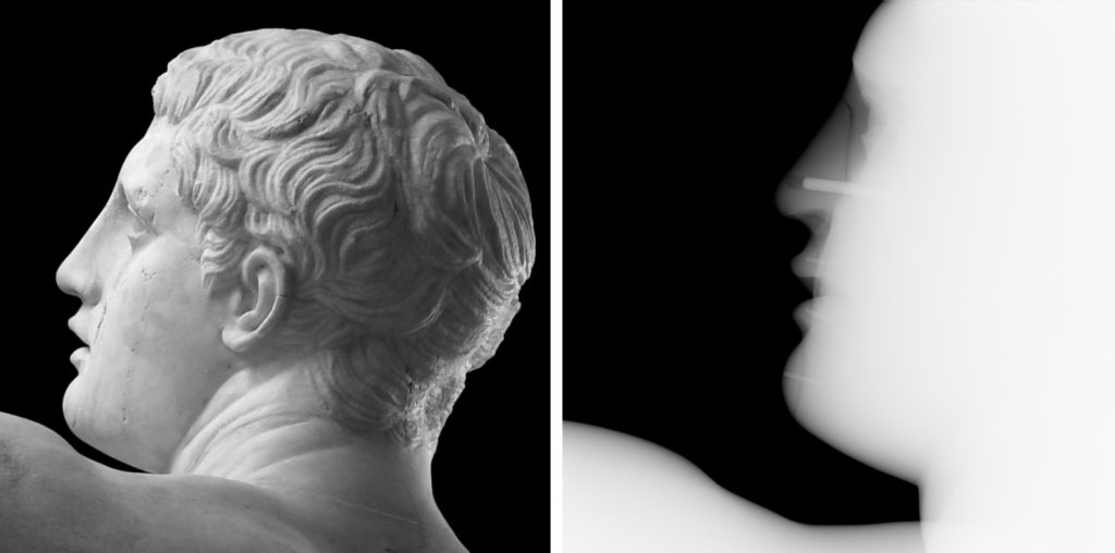 A composite picture showing the head of the discobolus statue looking to the left (image on the left), and to the right an X-ray of the same portion of the statue showing a join around the nose and a metal rod inside this area.