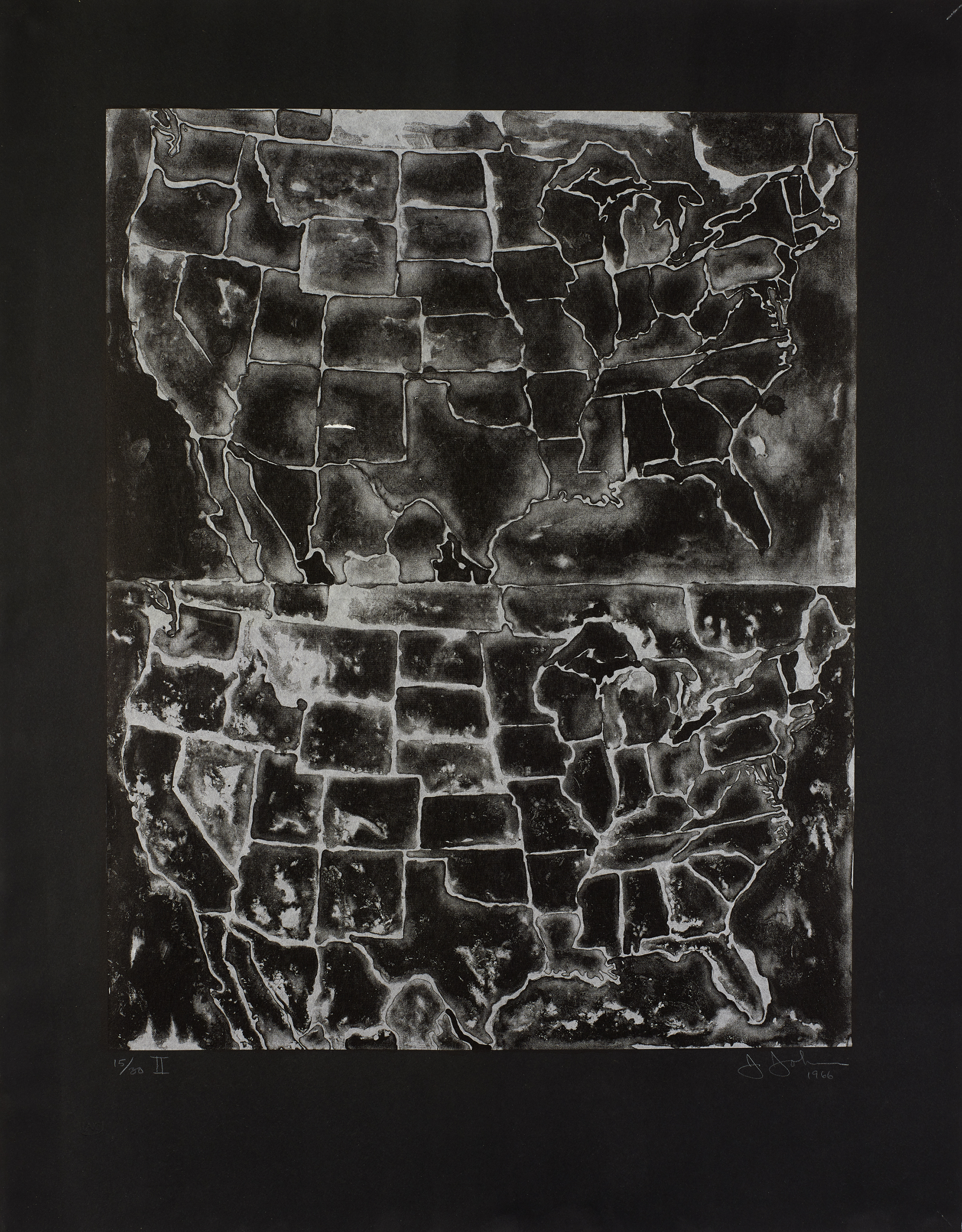 Two maps of the United States of America, one above the other. Printed in black on white Japan paper
