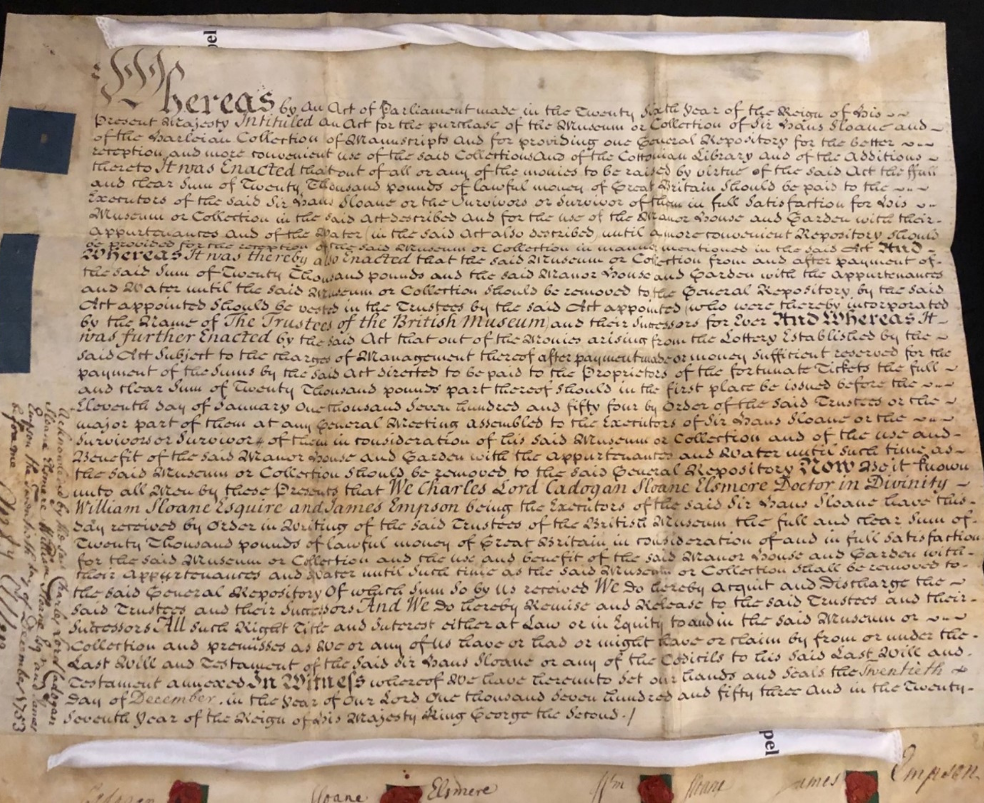 Image of the handwritten foundation deed for the British Museum, dated 20th December 1753 .