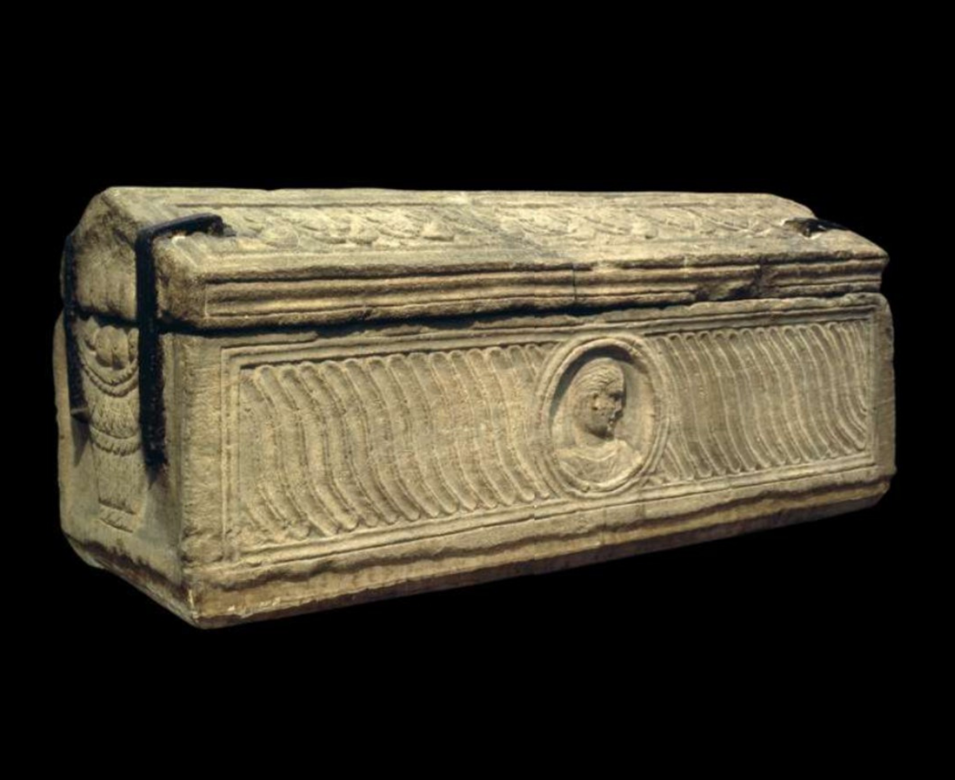 Image of a stone sarcophagus, made in Britain in the early 4th century AD.