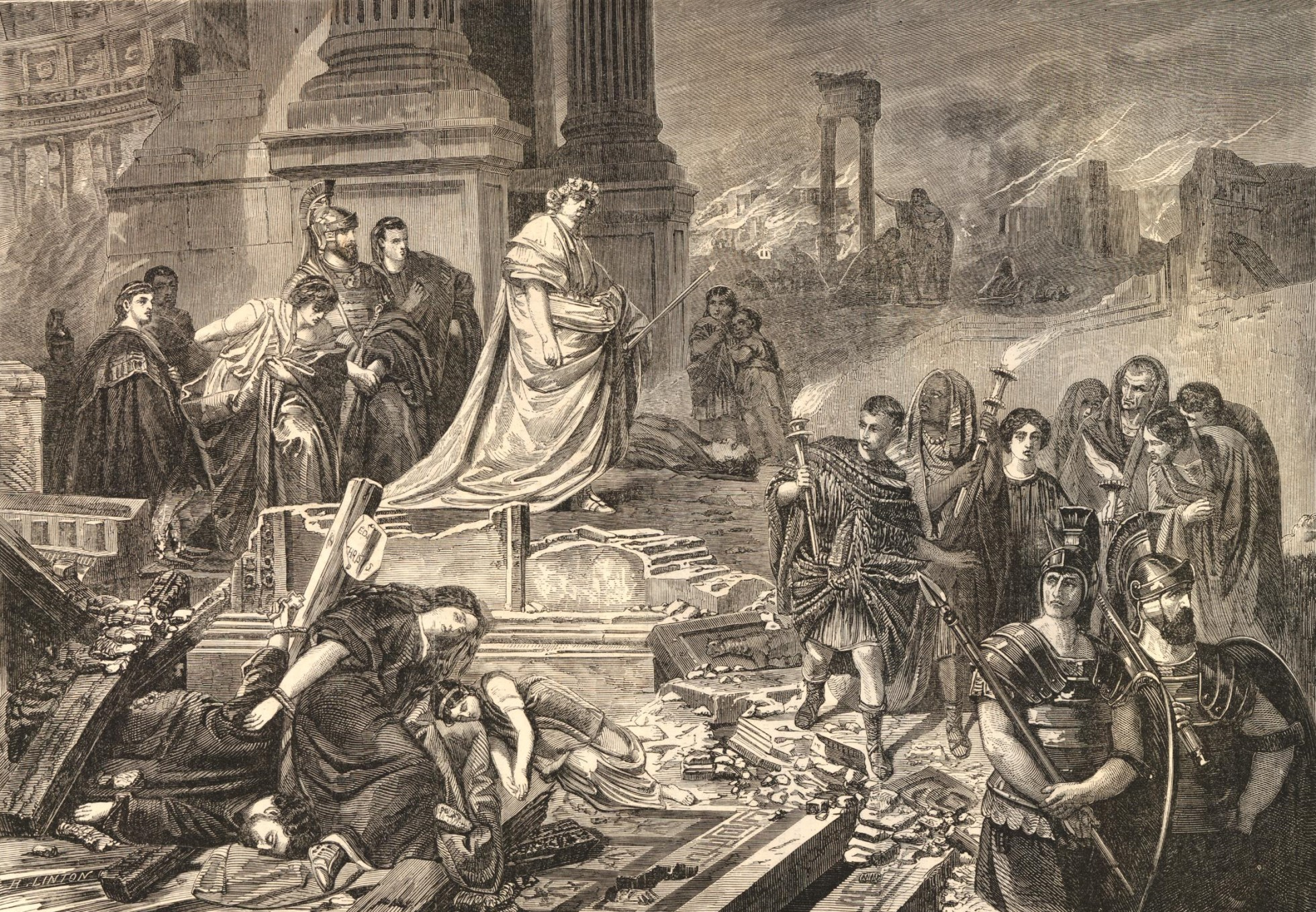 Black and white print showing Nero, standing in a ruined building  overlooking a destroyed Rome, which is still smoking following the fire. Nero stands in an elaborate robe and wears a garland. Their are armed guards in the foreground. There are bodies of people who have been killed, apparently by falling parts of the building.
