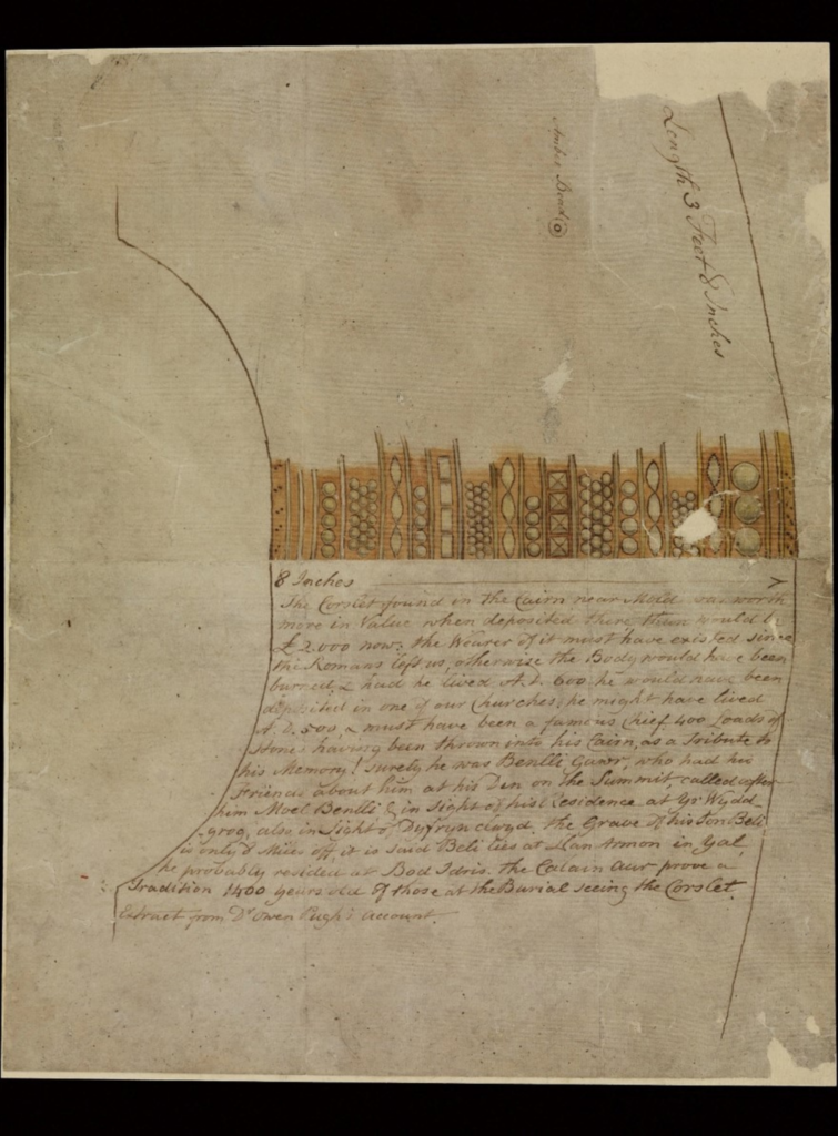 Drawing of the famous Mold Gold Cape from the 1830s with a description of how and where it was found.