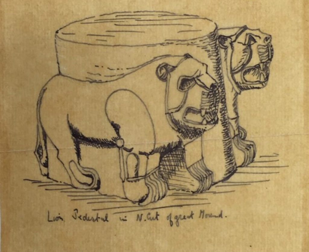 Sketch by TE Lawrence of two lions either side of a pedestal.