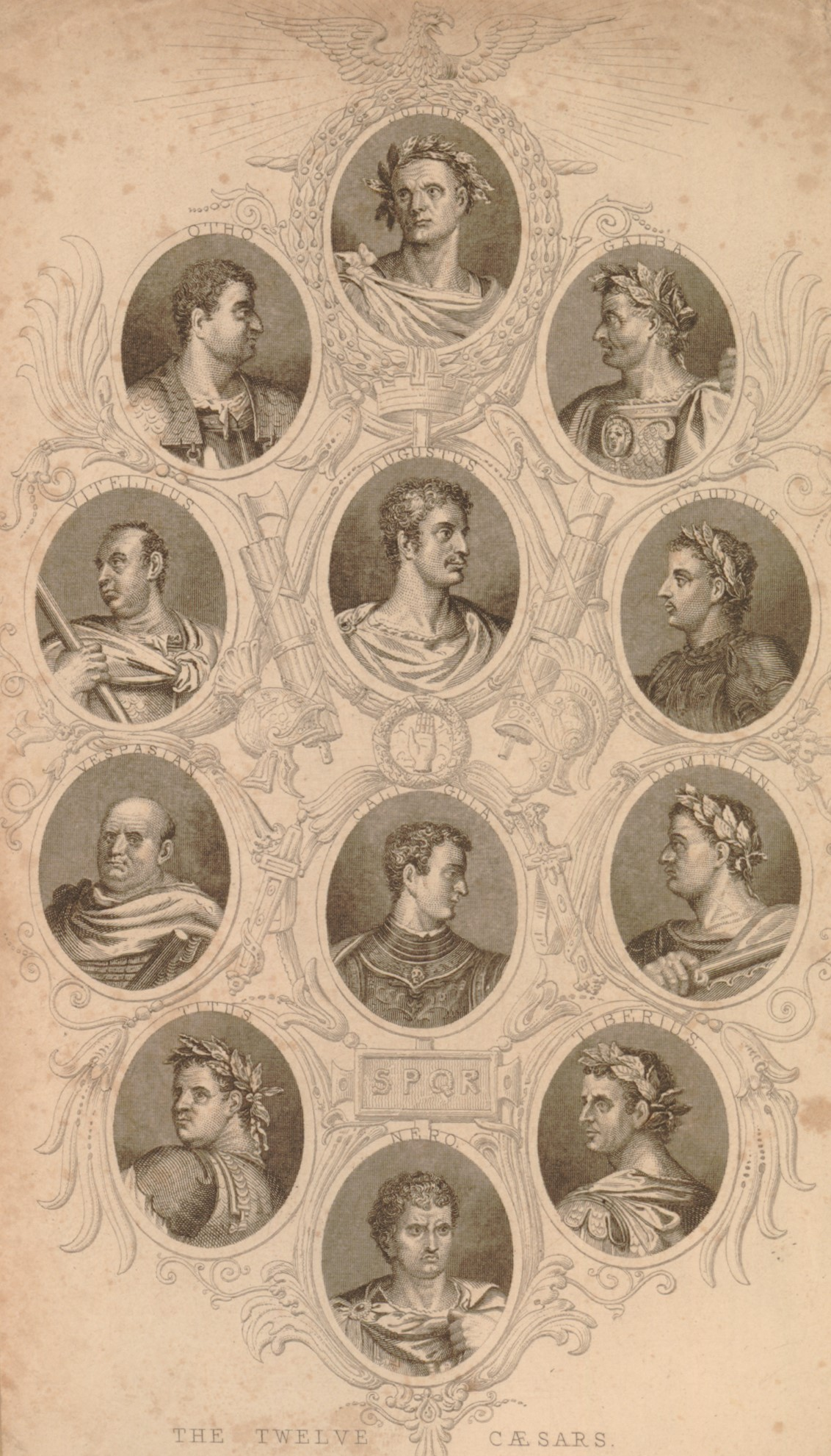 Portrait of the twelve Caesars, in an elaborate frame, each sitter bust-length in an oval with his name above, Augustus and Calligula at the centre with Julius Caesar on top and Nero on the bottom, Galba, Claudius, Domitian and Tiberius on the right, and Otho, Vitellius, Vespasian and Titus on the left.