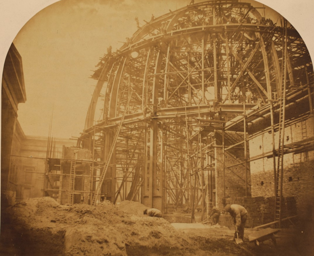 Photo showing the building of the dome of the Round Reading Room, taken in 1855 by William Lake Price.