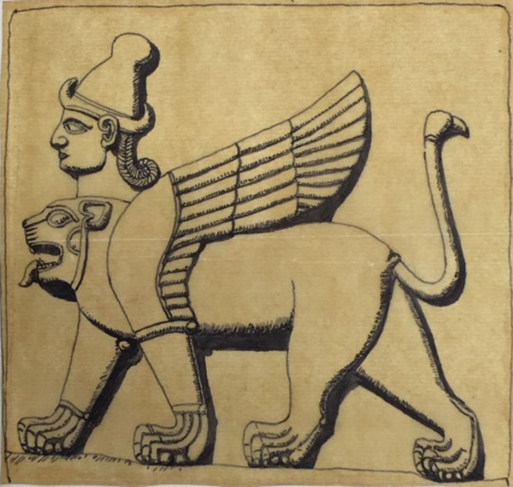 Sketch by TE Lawrence of a winged lion with a god's head on top of the lion's.