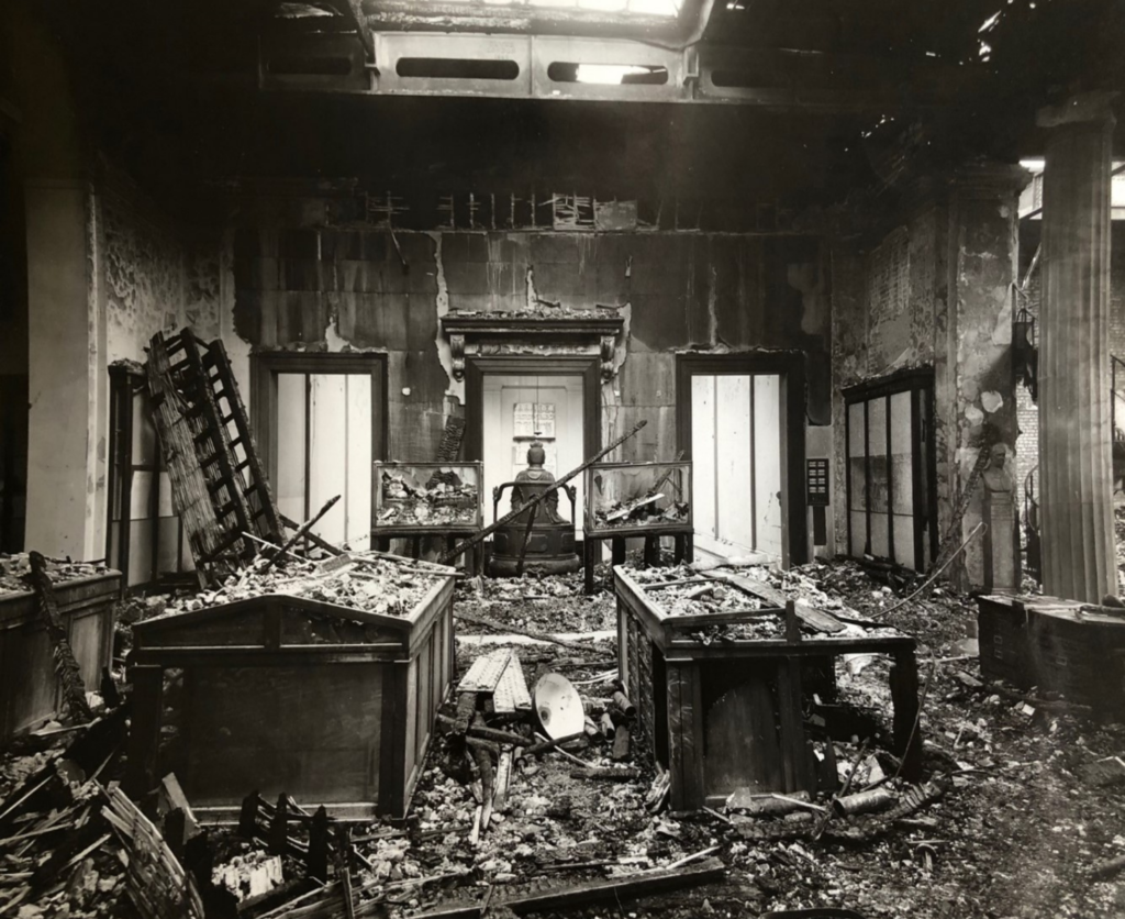 Black and white photo of the Central Saloon, badly damaged after a bomb strike in 1941.