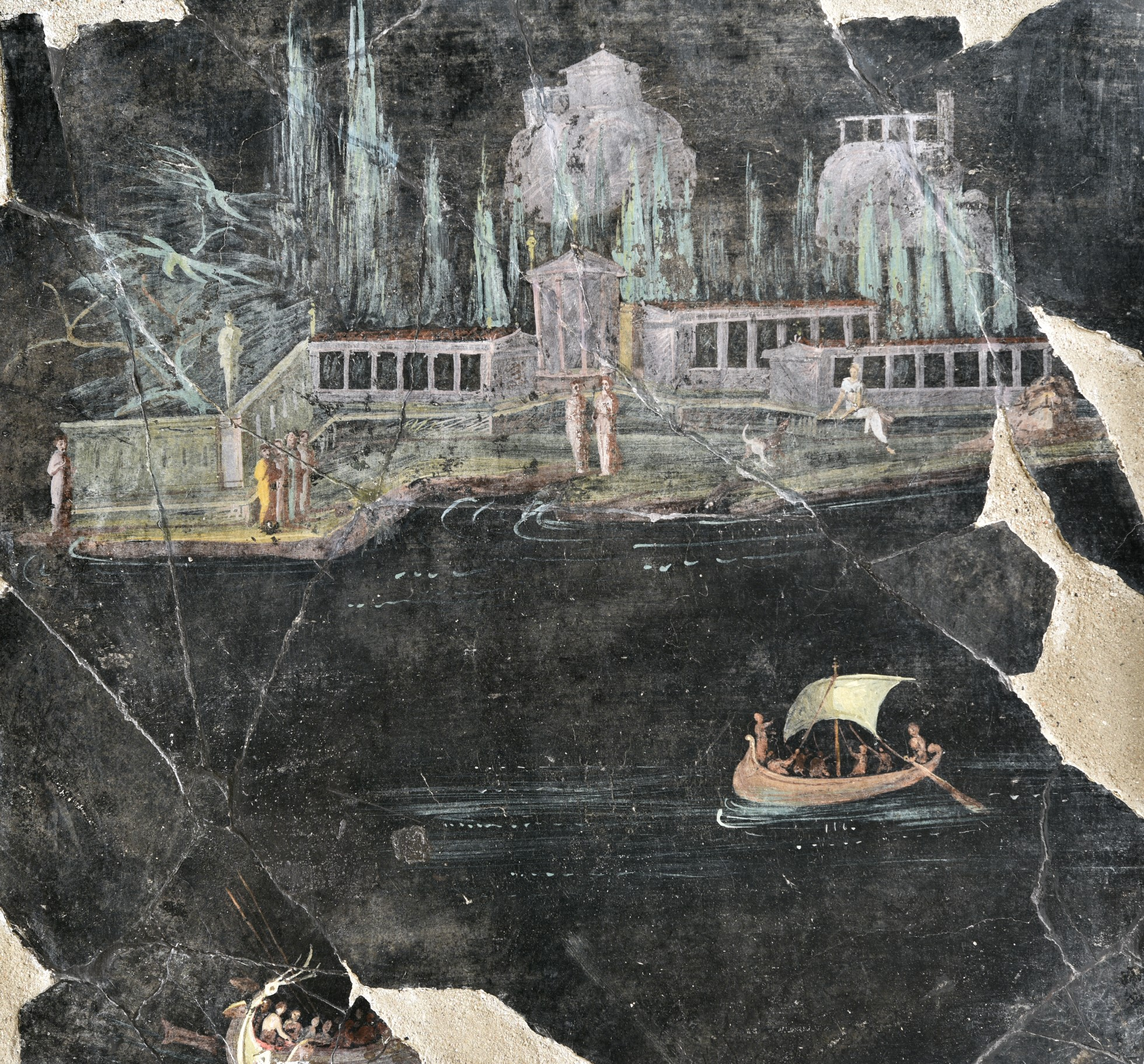 Painting, which is partially damaged, showing a landscape with architecture and boats. The background and water is a dark grey or black. The house is surrounded by a colonnade and there are trees and statues in the garden. Two boars can be seen in the water, One has a sale and oars.