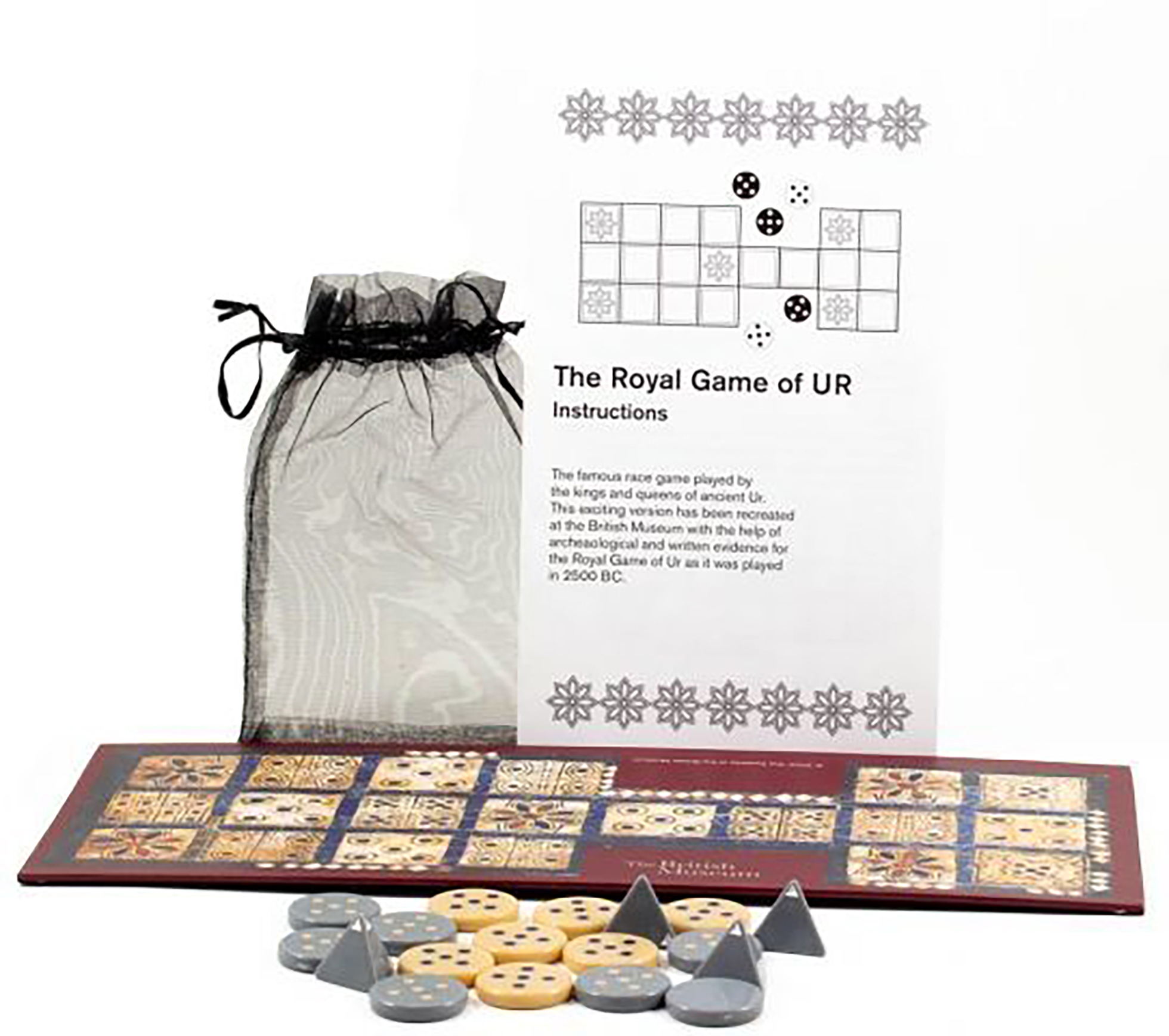 The Royal Game of Ur from the British Museum shop, shown with instruction leaflet.
