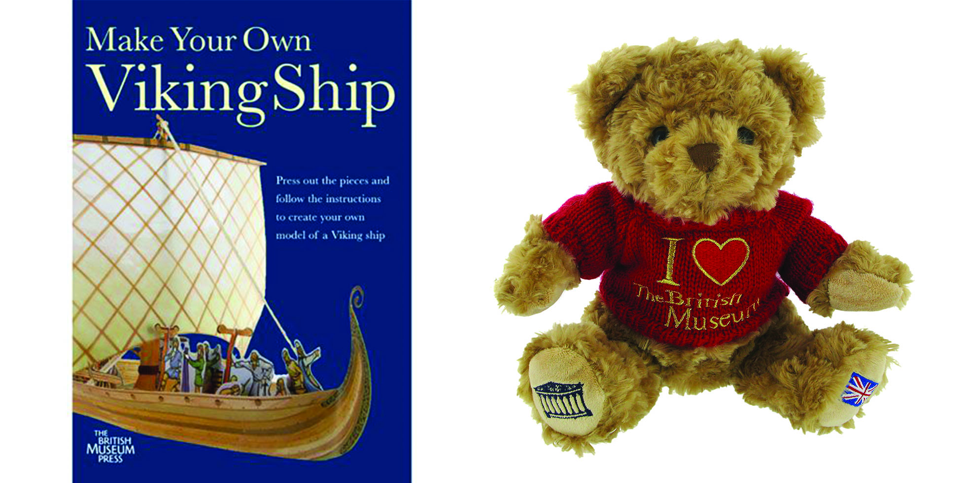 On the left, the front cover of 'Make Your Own Viking Ship'. On the right, a teddy bear wearing an 'I heart the British Museum' top.