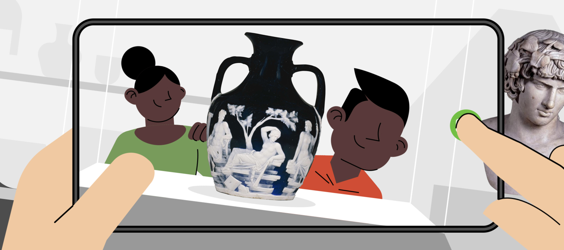 Illustration of someone taking a picture of children posing with a Roman vase.
