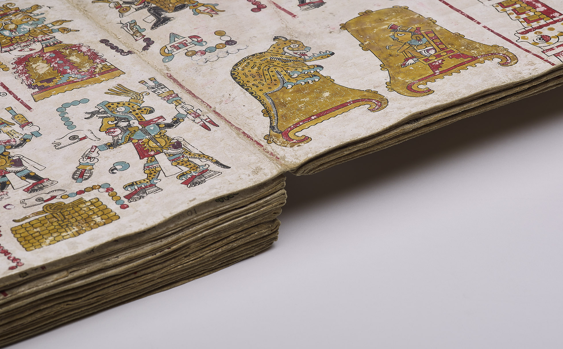 Close up of the Tonindeye Codex, showing a detail of the bottom of one of the pages